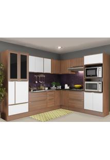 Cozinha Completa 19 Portas 4 Gavetas 5461Rmf131 Nogueira/Branco - Multimóveis