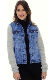 Jaqueta Jeans Com Moletom Sob E Com Bolsos Feminina - Feminino-Azul