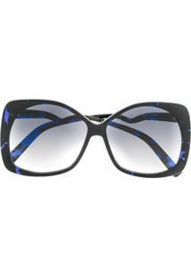Emmanuelle Khanh Óculos De Sol Oversized Degradê - Azul