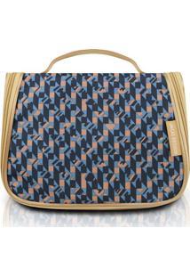 Nécessaire De Viagem Geométrica- Azul Escuro & Bege-Jacki Design