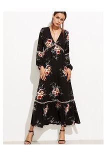 Vestido Longo Estampa De Rosas E Manga Longa