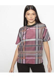 Blusa Xadrez Com Elástico- Vermelho Escuro Cinza Escurcolcci