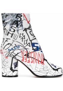 Maison Margiela Ankle Boot Tabi Com Estampa Gráfica - Branco