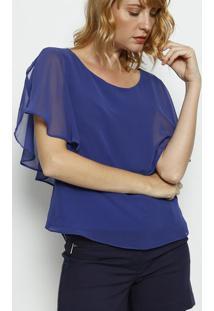 Blusa Com Recorte Sobreposto - Azul Royal - Moisellemoisele