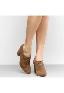 Ankle Boot Couro Shoestock Salto Grosso Hot Fix - Feminino