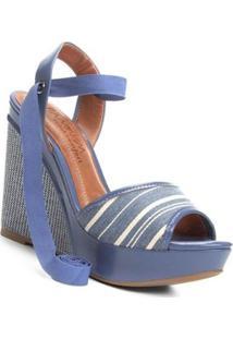 Sandália Plataforma Ramarim Amarração Feminina - Feminino-Azul