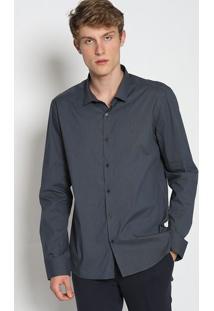 Camisa Slim Listrada - Azul Marinho & Cinzacalvin Klein
