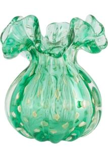 Vaso De Murano Trouxinha Com Ouro Verde Esmeralda