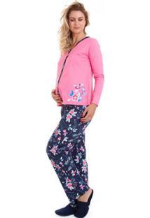 Pijama De Inverno Manga Longa Luna Cuore Feminino - Feminino-Rosa