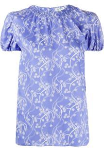 Kenzo Smocked Collar Top - Azul