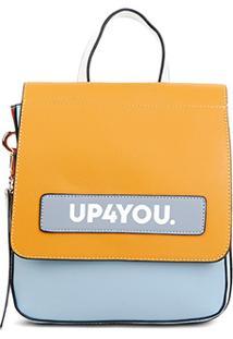 Bolsa Luxcel Up4You Transversal Estruturada Feminina - Feminino-Amarelo+Azul