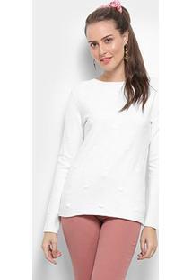 Suéter Tricot Facinelli Coração Feminino - Feminino-Bege