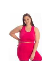 Top Costa Nadador Suplex Plus Size Fitness Feminino Academia - Pink