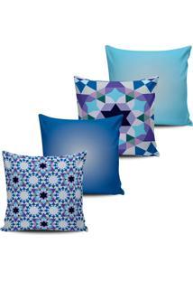 Kit 4 Capas Almofada Design Geometricos Tons De Azul 45X45Cm