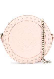 Balmain Bolsa Disco De Couro Com Textura - Rosa