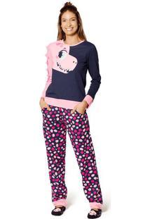 Pijama Moletom Dina- Azul Marinho & Rosapuket