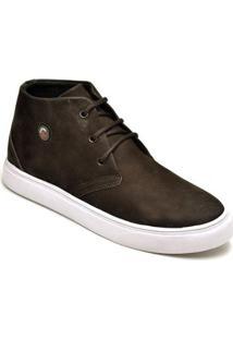Tênis D&R Shoes Cano Alto Em Couro Masculino - Masculino-Marrom