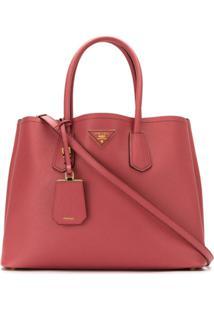 Prada Bolsa 'Double Bag' De Couro - Rosa