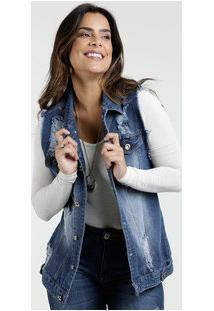 Colete Feminino Jeans Destroyed Razon