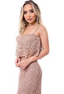 Tricô Blusa Cropped Vera Tricot Alças Rendado Rosê