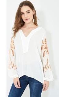 Blusa Bata Ateen Richilieu Clorinda - Feminino-Off White