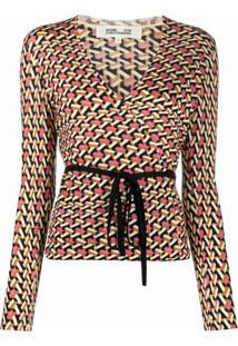 Dvf Diane Von Furstenberg Blusa Com Transpasse E Estampa Geométrica De Lã Merino - Preto