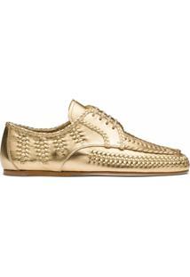 Prada Sapato De Couro Com Cadarço - Dourado