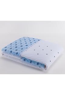 Edredom Avulso Para Bebê 01 Peça Bordado Marina 100% Algodão - Coroa Azul