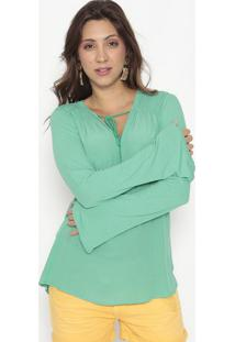 Blusa Com Franzidos & Seda- Verde- Bobstorebobstore