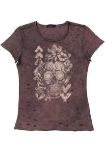 Camiseta Tassa Destroyer Feminina - Feminino-Marrom