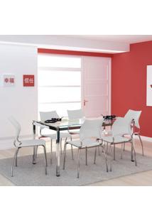 Conjunto De Mesa Com 6 Cadeiras Monalisa Branco