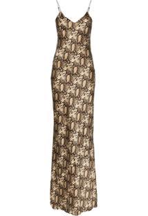 Nili Lotan Vestido Longo Com Estampa Pele De Cobra - Marrom