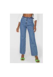 Calça Jeans Hering Mom Pespontos Azul