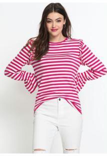 Blusa Com Babadinhos Listrada Rosa Pink