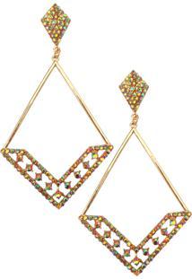 Brinco Triangular Furta-Cor Dourado Lovelee Acessórios