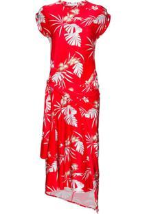 Paco Rabanne Vestido Midi Assimétrico Com Estampa Havaiana - Vermelho