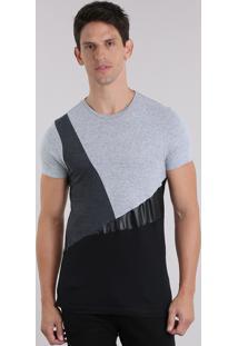 Camiseta Com Recortes Geométricos Cinza Mescla
