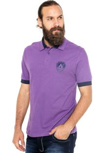 Camisa Polo Mr Kitsch Manga Curta Navy Roxa