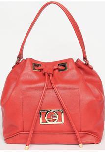 Bolsa Saco Em Couro- Vermelha- 31X45X16Cmjorge Bischoff