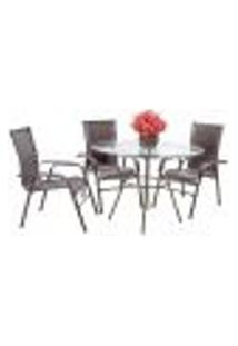 Conjunto 3 Cadeiras E Mesa Alta Com Tampo Bela, Jardim, Fibra Sintetica Pedra Ferro