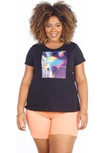 Camiseta Besni Plus Size Bolsa Strass Feminina - Feminino-Preto