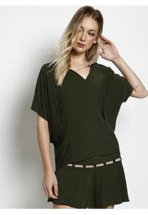 Blusa Com Bordados & Pedrarias- Verde Escuro & Nudebobstore