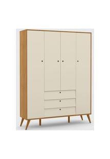 Roupeiro 4 Portas Gold Freijó / Off White / Eco Wood Matic Móveis