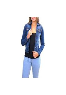 Jaqueta Jeans Feminina Azul O Rei Do Brás.