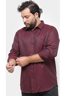 Camisa Social Delkor Plus Size Masculina - Masculino-Vermelho