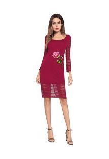 Vestido Curto Bainha Em Renda Com Design De Rosa - Vinho