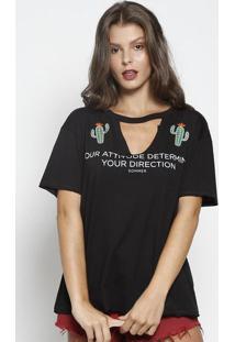 Camiseta Com Cactos Bordados - Preta & Verde - Sommesommer