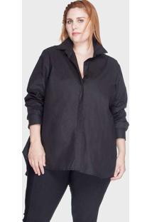 Camisa Evasê Algodão Plus Size Preto