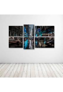 Quadro Decorativo - New York Night - Composto De 5 Quadros