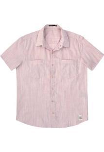 Camisa Masculina Slim Manga Curta Em Tecido De Algodão